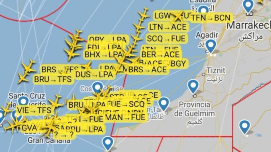 Aumenta el tráfico aéreo este sábado de la Península con Canarias