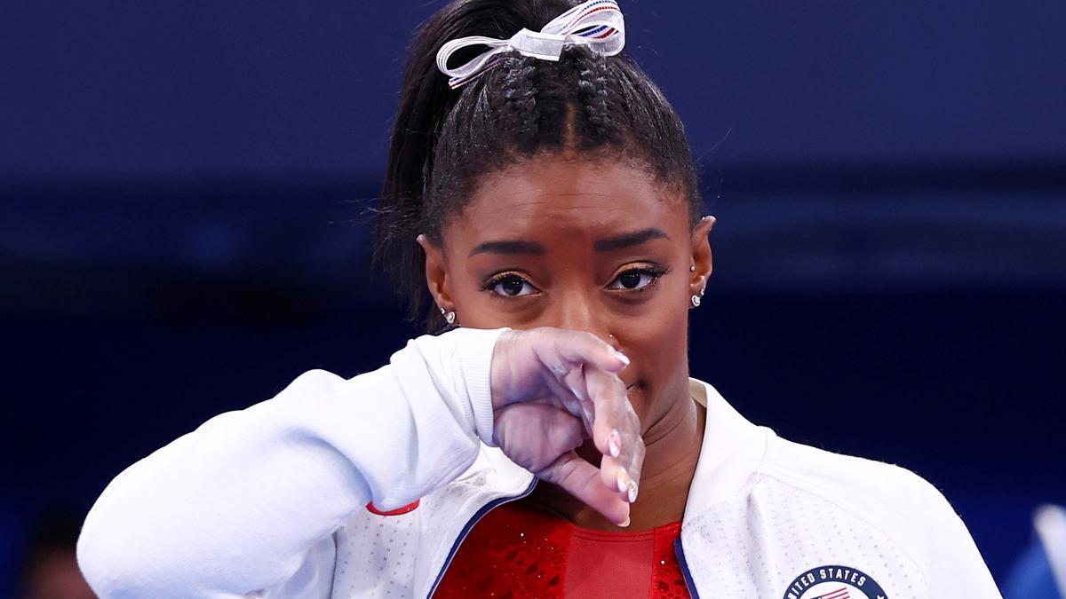 Simone Biles durant la final per equips d'ahir