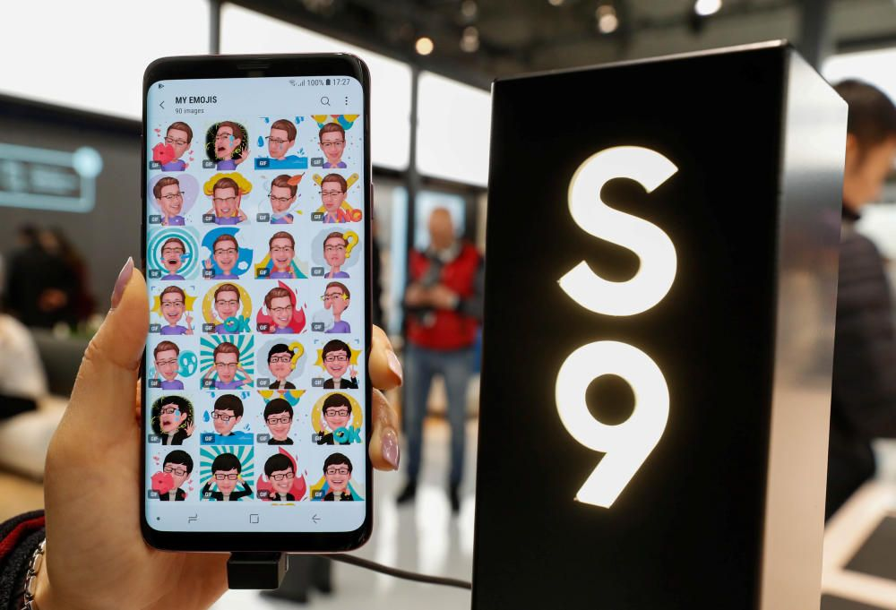 The new Samsung Galaxy S9 Plus mobile is shown ...