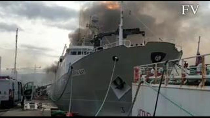 El 'Baffin Bay', de Copemar, se hunde en el puerto de Vigo tras sufrir un incendio durante una reparación