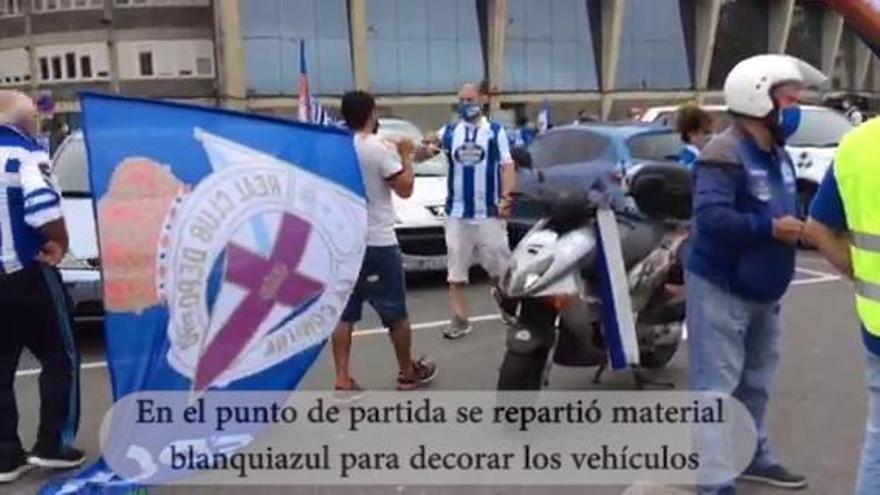 Manifestación convocada por la Federación de Peñas en defensa del Deportivo
