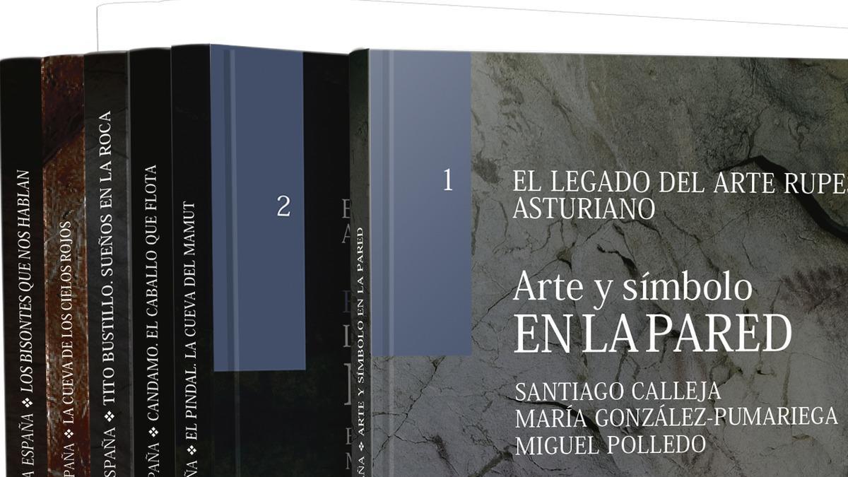 Los libros de la colección de arte rupestre.