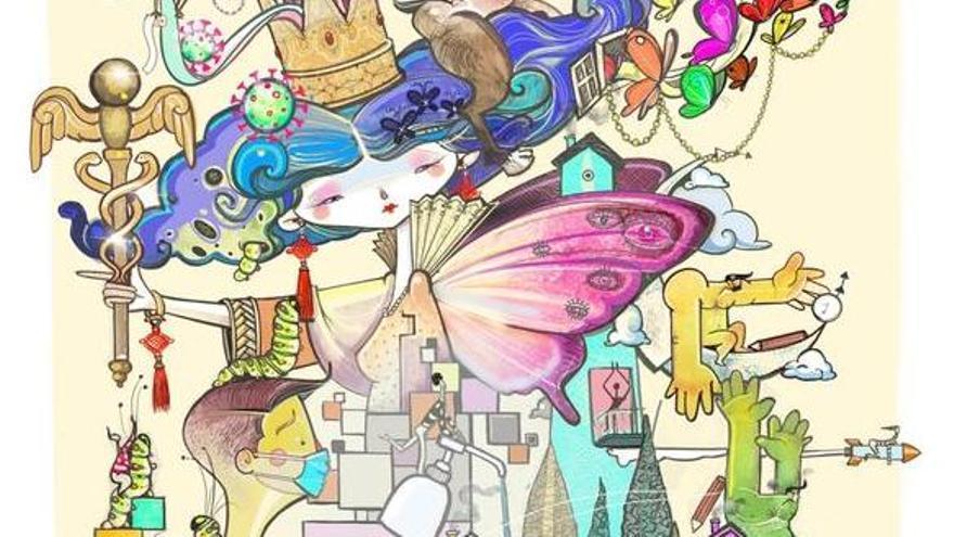 Detalle del boceto de la hoguera.