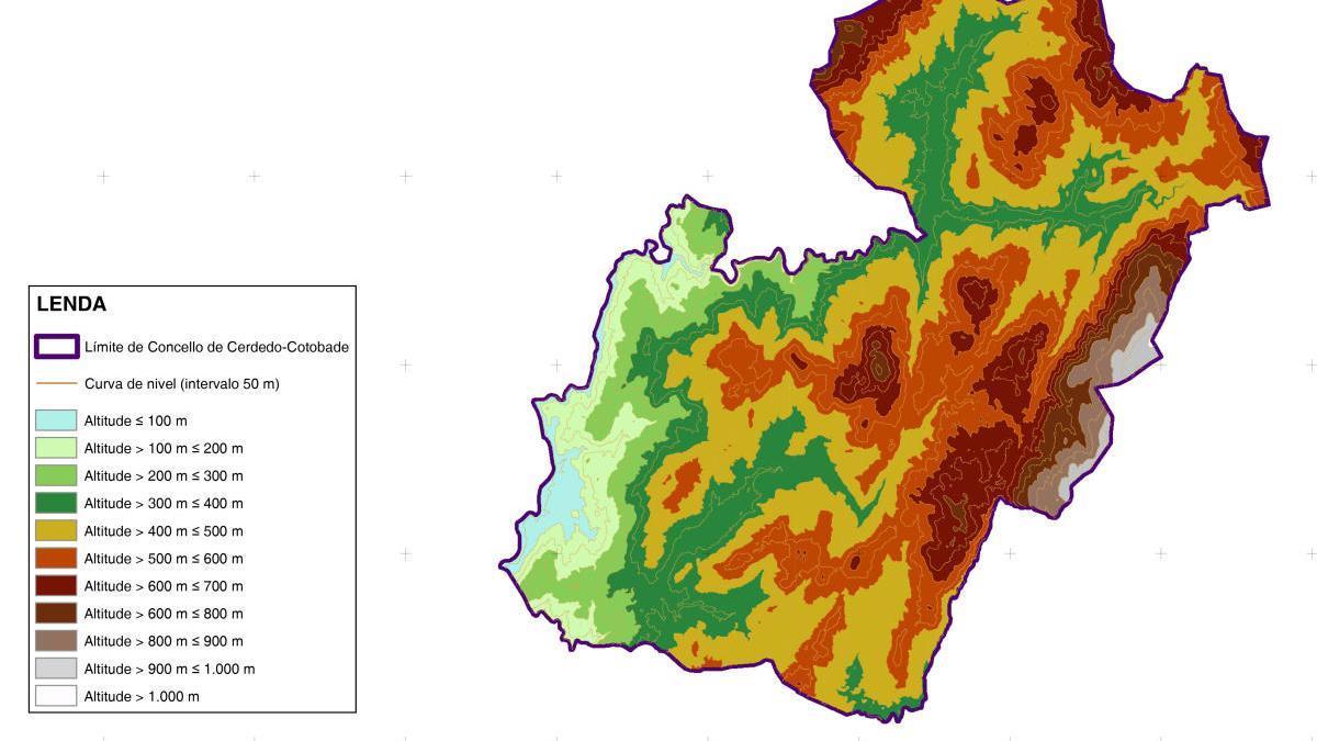Mapa de zonas forestales y boscosas del Plan Municipal de Prevención e Defensa contra os Incendios de Cerdedo-Cotobade.