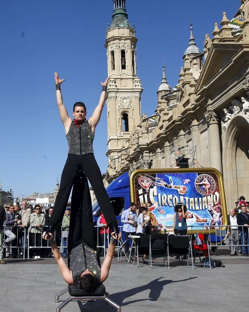 Presentación del Circo Italiano en la Plaza del PIlar