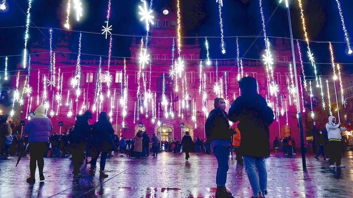Luces de Navidad en María Pita.