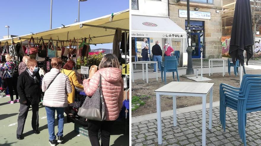 Luces y sombras en Bouzas: lleno en el mercadillo, vacías las terrazas
