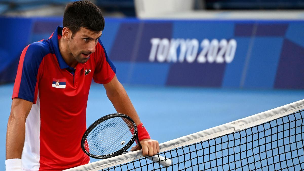 Novak Djokovic, in the match against Pablo Carreño in Tokyo.