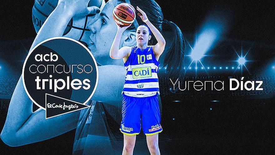 Yurena Díaz, en el concurso de triples de la Supercopa Endesa