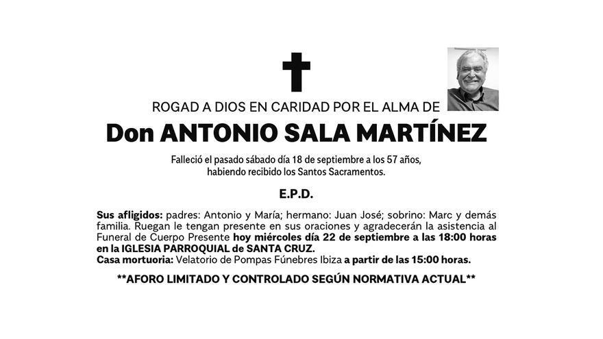 Esquela de don Antonio Sala Martínez