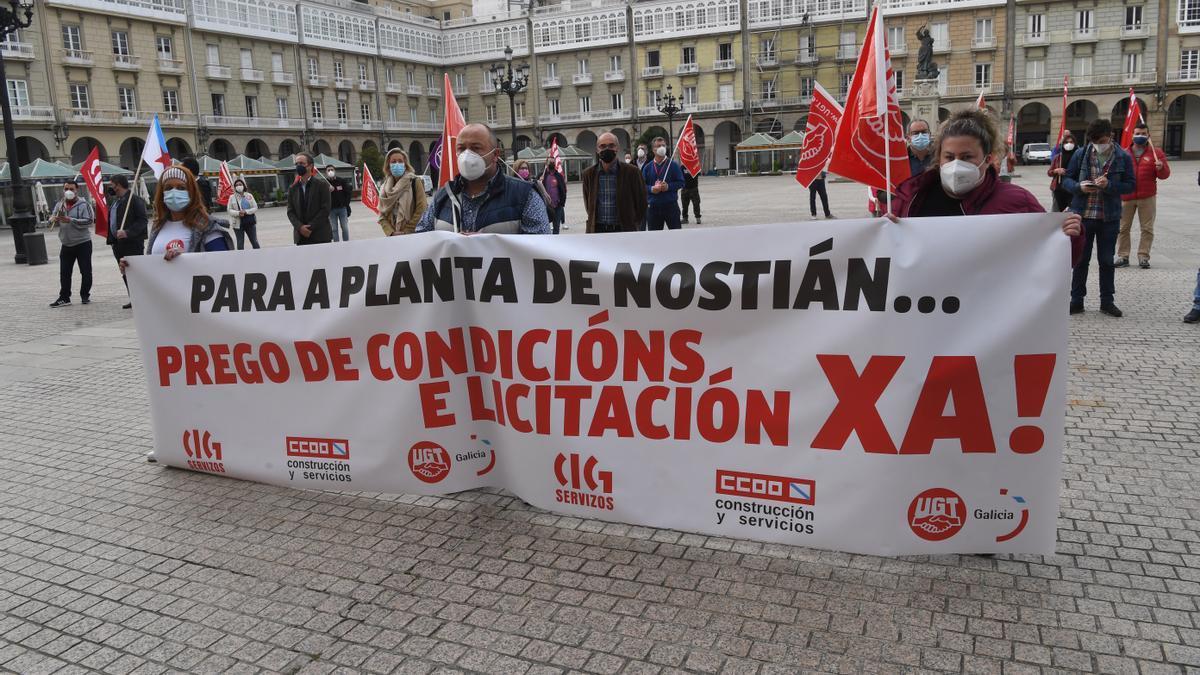 Concentración de trabajadores de Albada.