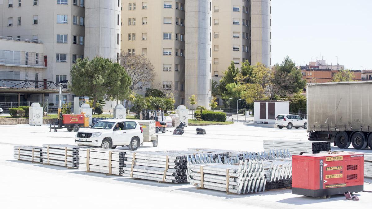 Gabriela Bravo afirma que la infraestructura del hospital de campaña de Alicante estará lista el 10 de abril