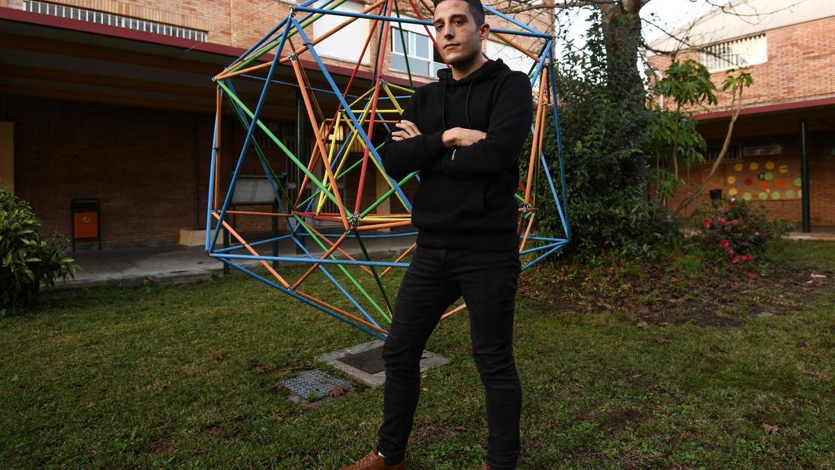 Joshua Mateo no CIFP A Xunqueira de Pontevedra, onde estuda un ciclo de Igualdade
