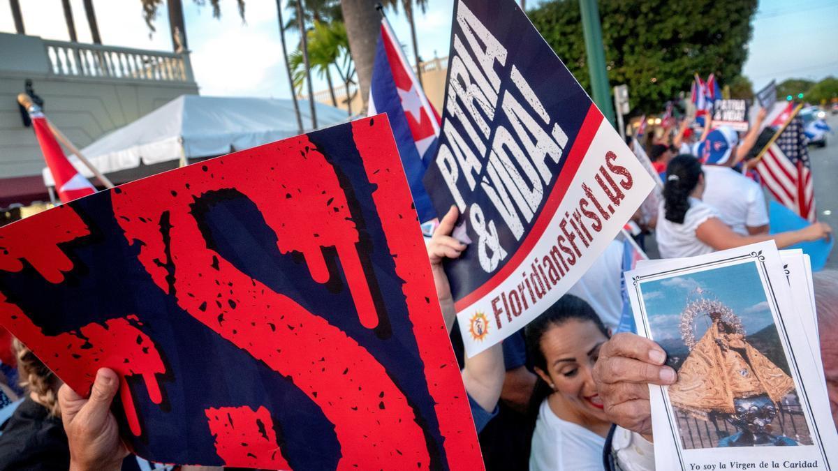Manifestaciones en Miami sobre la situación en Cuba.