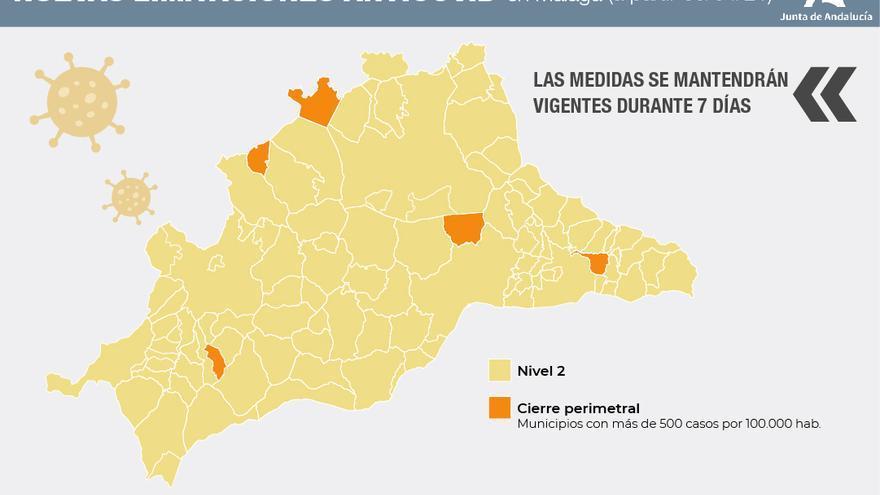 Cinco pueblos de Málaga tendrán cierre perimetral desde el viernes