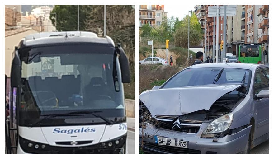 Xoc entre un turisme i un autocar a la carretera del Pont de Vilomara de Manresa
