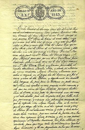 Acta de recoñecemento de Rosalía como filla natural de Teresa de Castro, outorgada por esta.