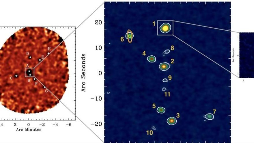 Observan un cúmulo galáctico en formación a 1.500 millones de años del Big Bang