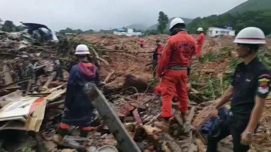 Más de 50 muertos por un desprendimiento en Birmania