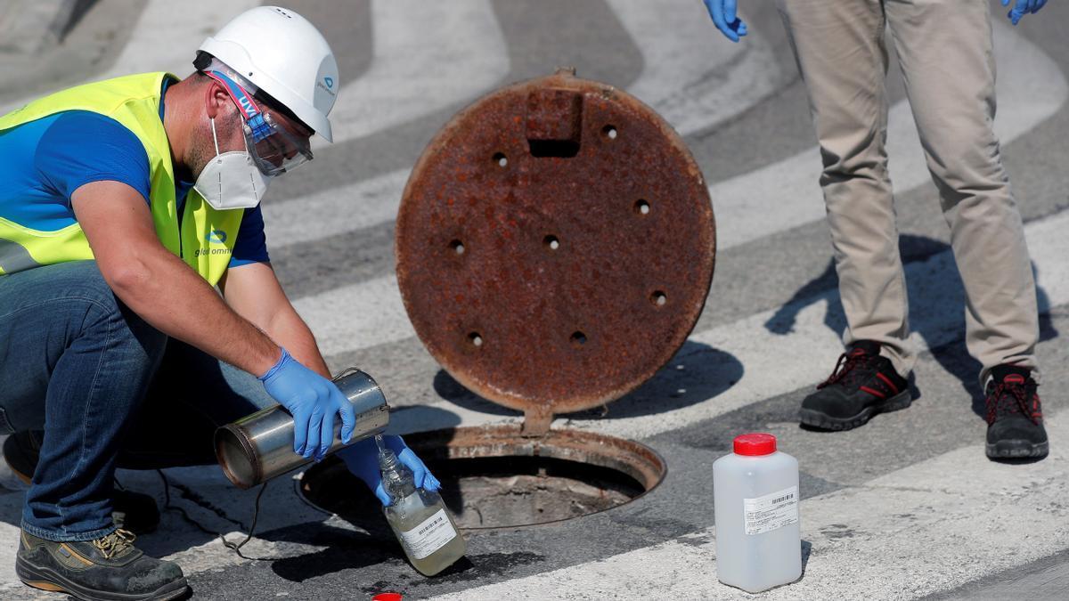 Un técnico analiza las aguas residuales en un punto de testeo.