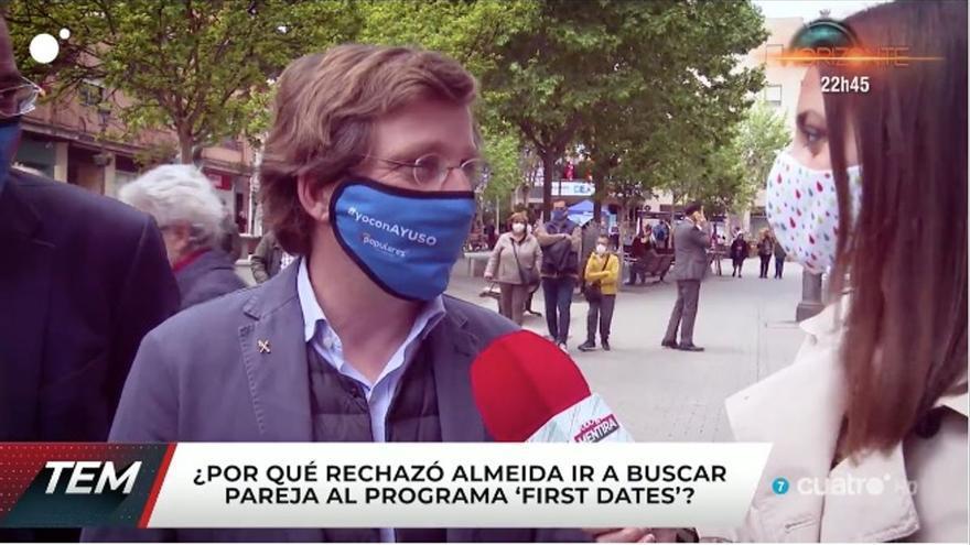 Almeida no descarta ir a 'First dates' y se declara a una reportera de 'Todo es mentira'