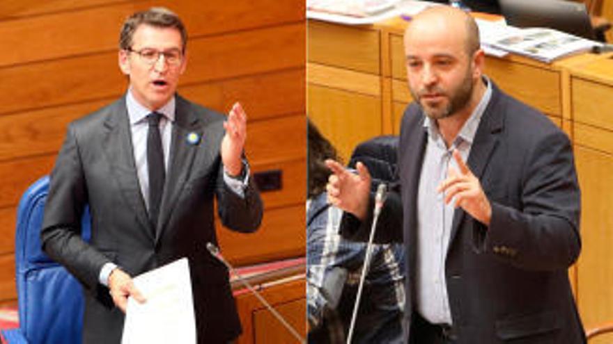 Núñez Feijóo ningunea a Luís Villares en el Parlamento por los problemas internos de En Marea