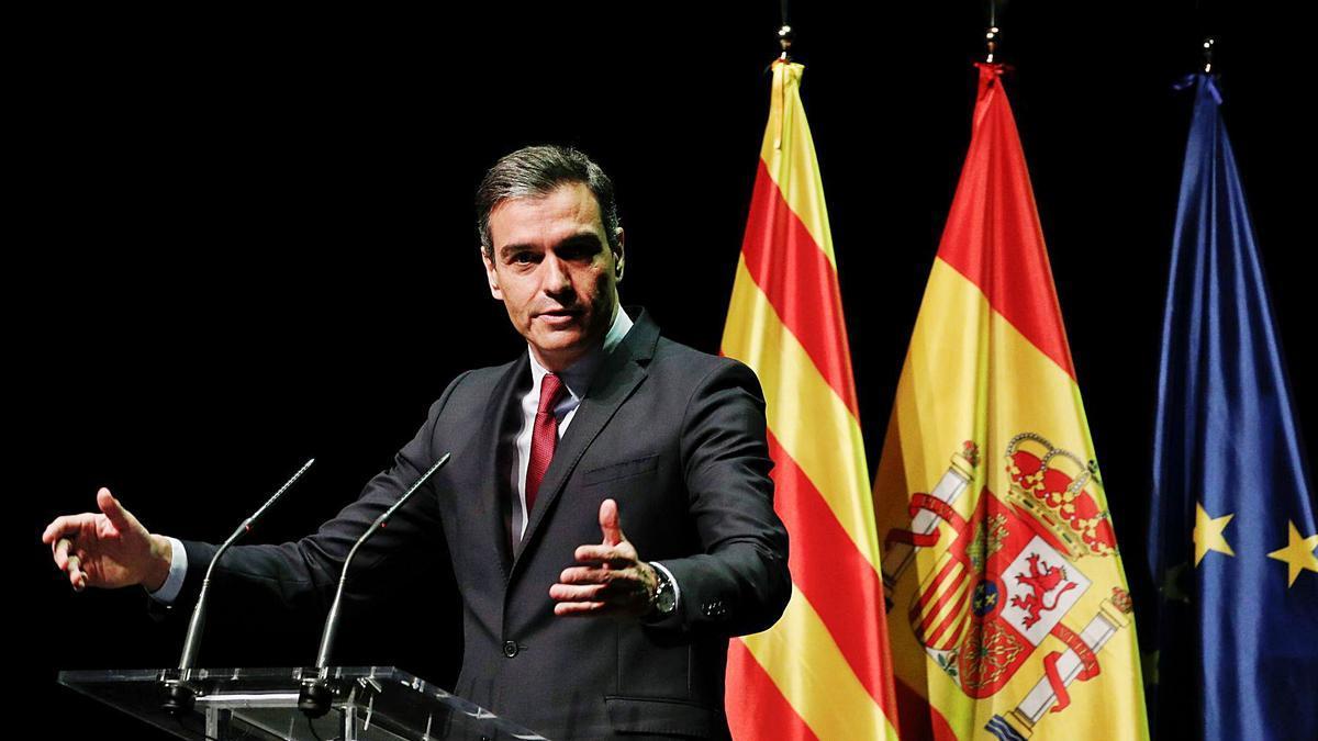 El president del Govern espanyol, Pedro Sánchez, durant la seva intervenció ahir al Liceu | EP