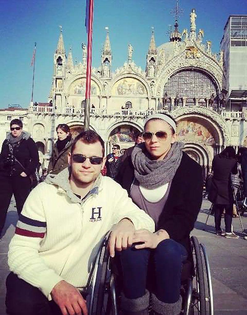 Shelley Cronau y Agustín Alejos en un viaje a Venecia