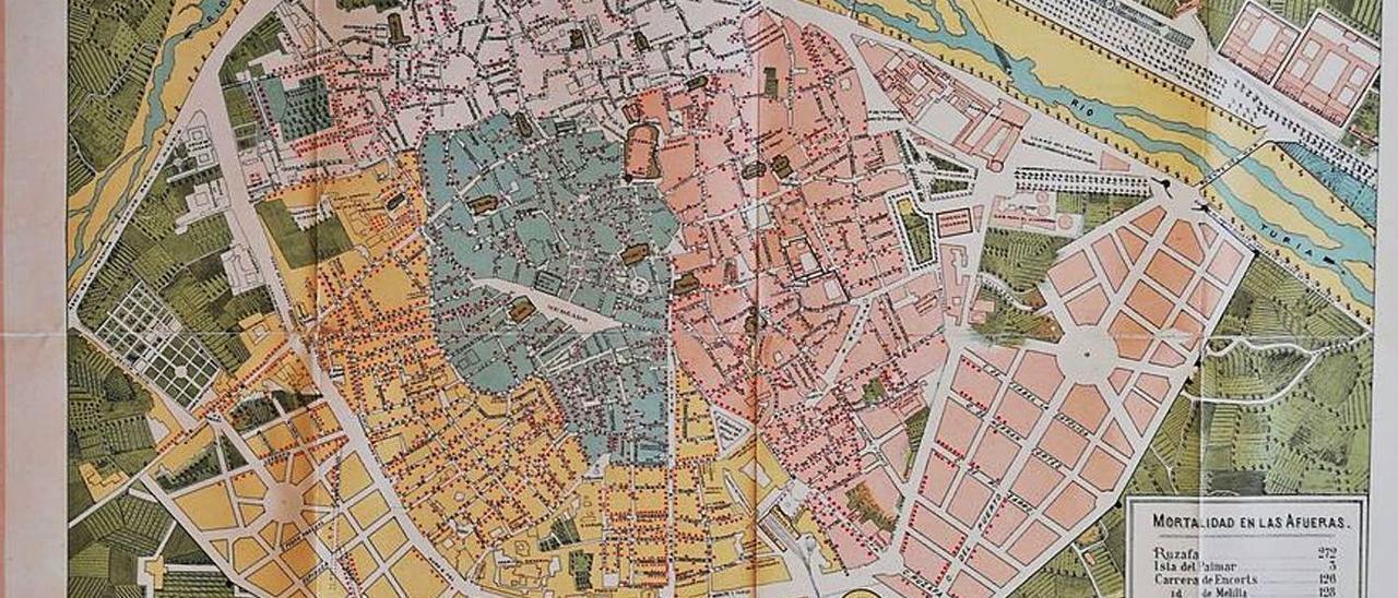 Un plano de València de 1885 con la mortalidad causada por la epidemia del cólera. | ARXIU RAFAEL SOLAZ