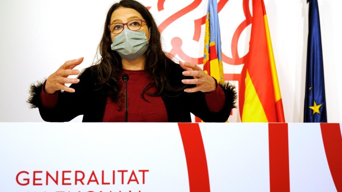 La portavoz del Consell, Mónica Oltra, en una comparecencia