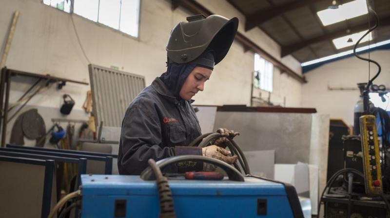 Entrevista a soldadora de Talleres Quintana por el 8-M.  | 05/03/2020 | Fotógrafo: Carsten W. Lauritsen