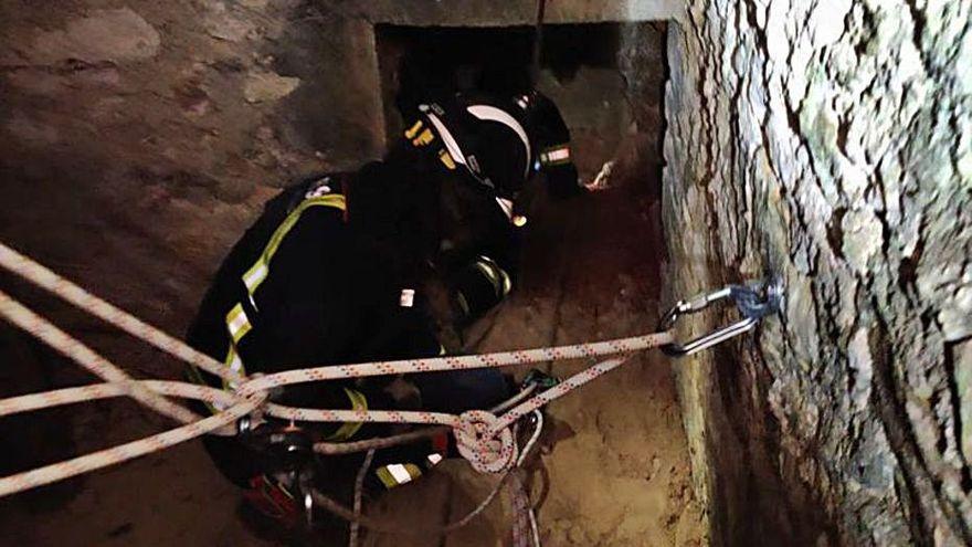 Un bombero rescata de un pozo de 20 metros en Ibiza a un gato y una perra