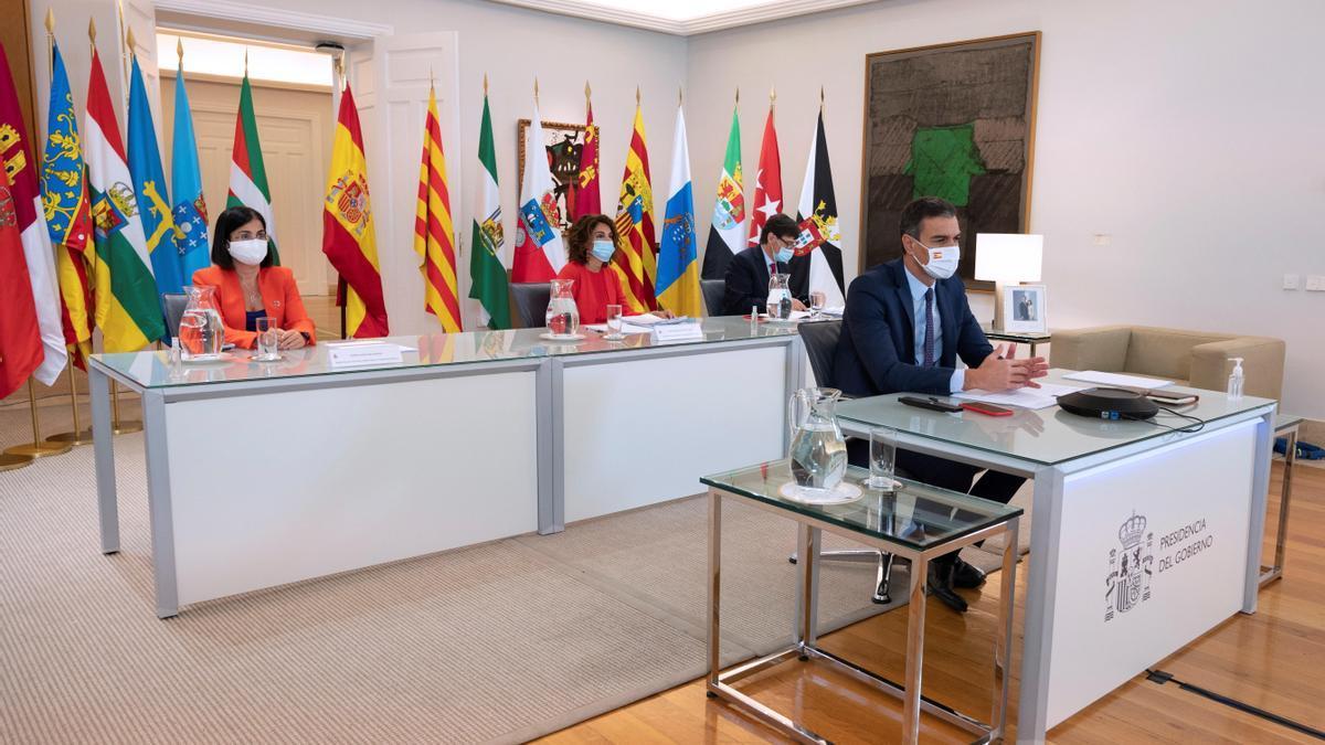 Pedro Sánchez, durante la conferencia autonómica virtual.