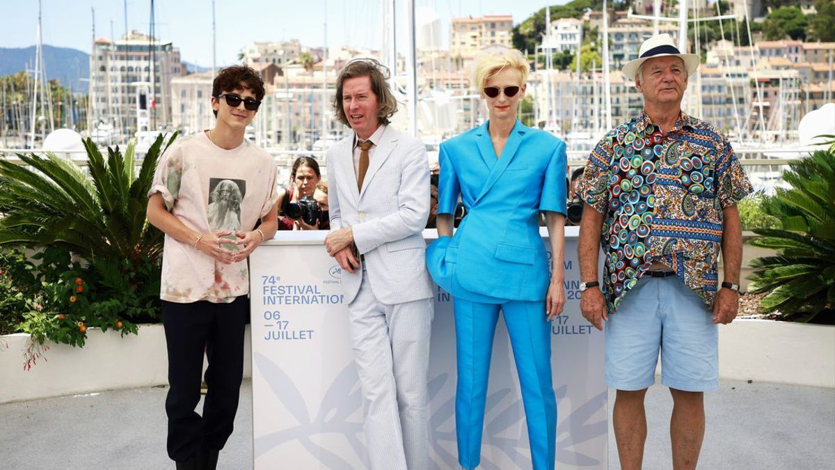 De izquierda a derecha, Timothée Chalamet, Wes Anderson, Tilda Swinton y Bill Murray.