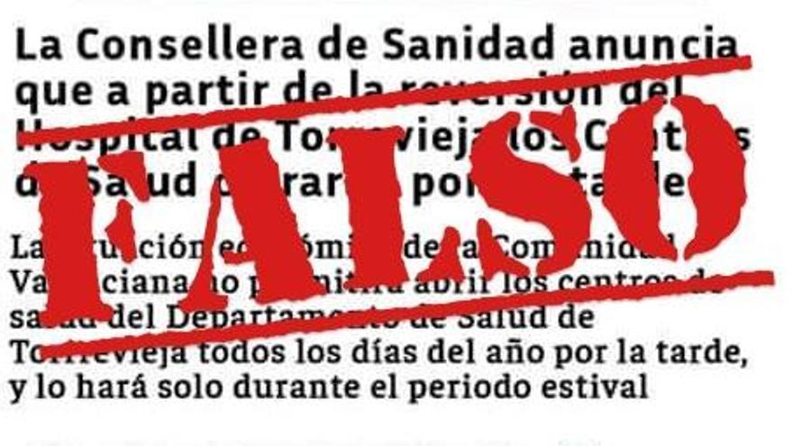 La situación del departamento de salud de Torrevieja desata una campaña de bulos
