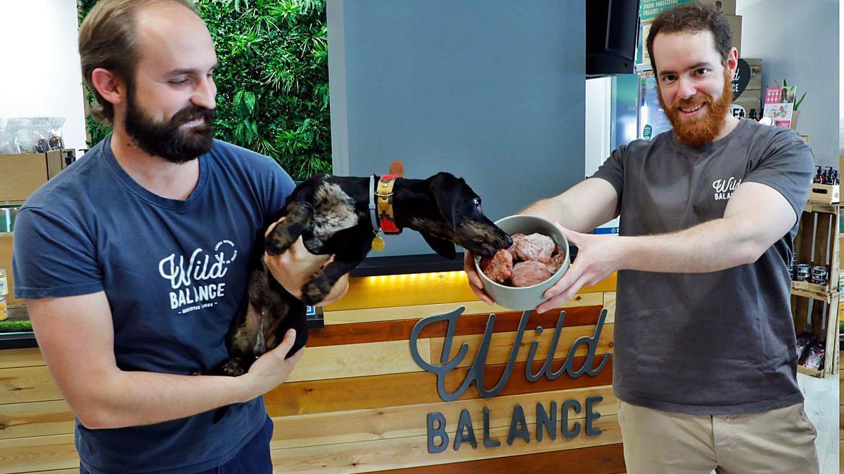 Kike Domingo y Carlos Pastor con el alimento de Wild Balance, en la tienda que tienen en València. | M.A. MONTESINOS