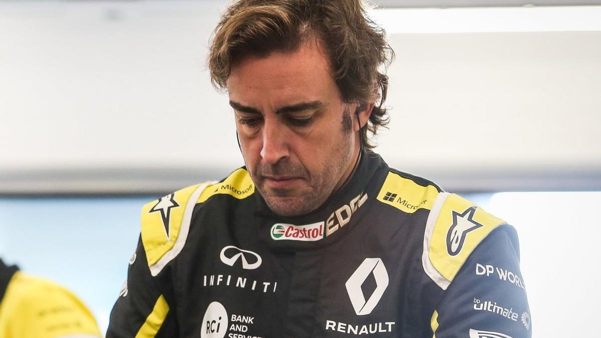 Fernando Alonso, en un test con Renault