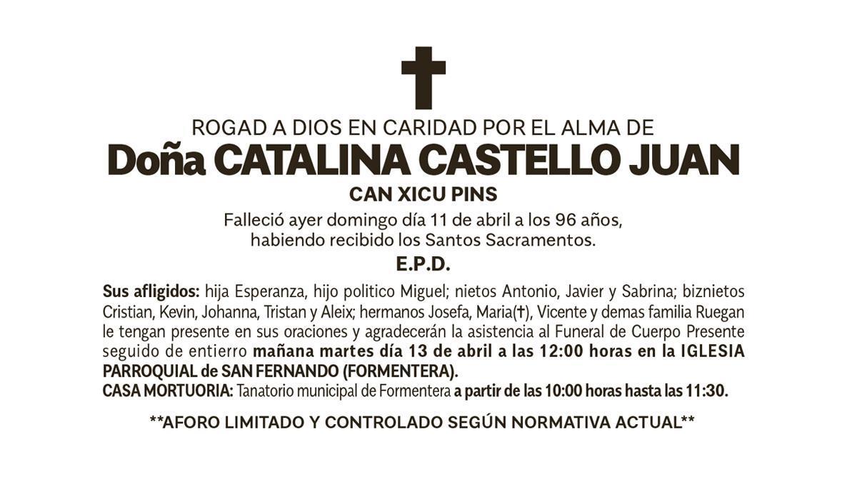 Esquela Catalina Castelló Juan