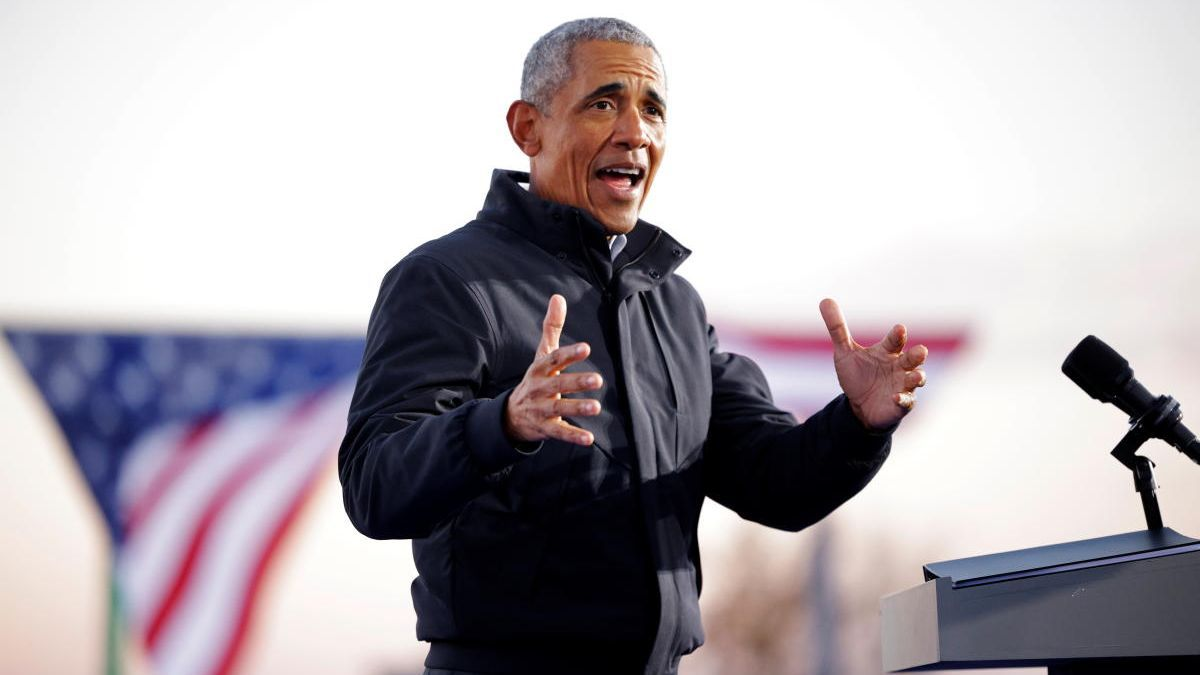 Barack Obama durante el mitin de apoyo a Joe Biden.