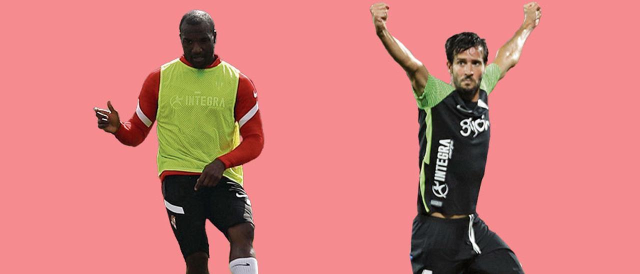 Babin, a la izquierda, en un entrenamiento; a la derecha, Marc Valiente celebra su gol en Gerona. |  LNE