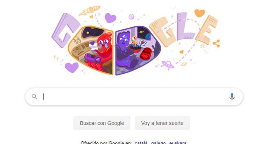 Google dedica su doodle al día de San Valentín