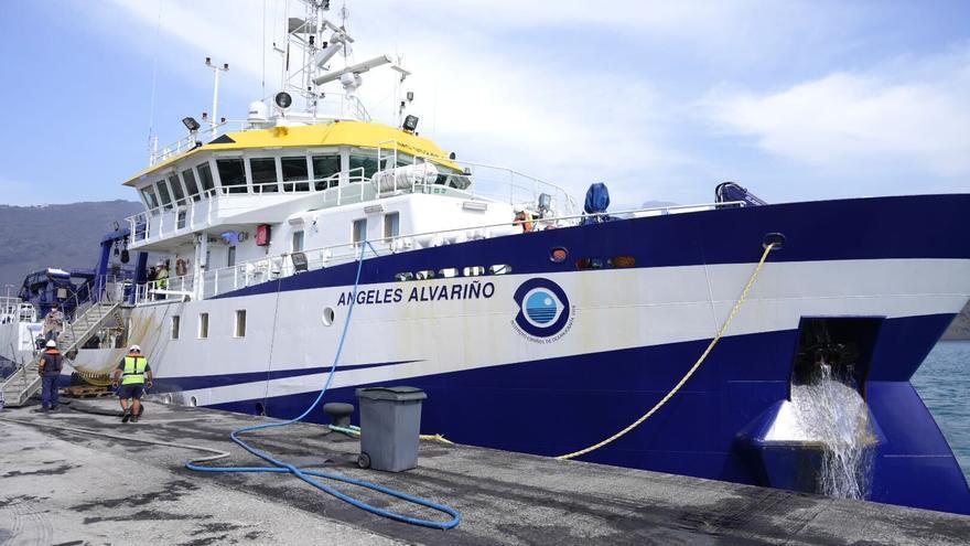 El 'Ángeles Alvariño' recupera del mar un anclaje perdido de la tubería que suministrará agua a las plataneras de La Palma