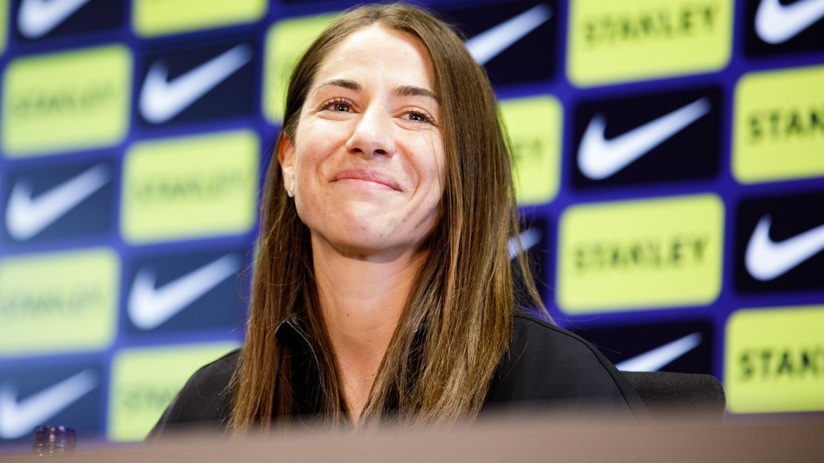 Vicky Losada en la roda de premsa de comiat al Barça