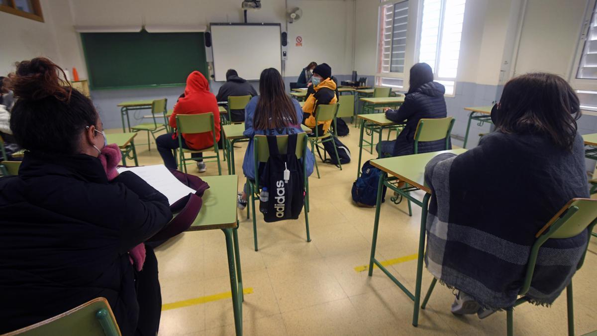 Alumnos en un instituto de Murcia