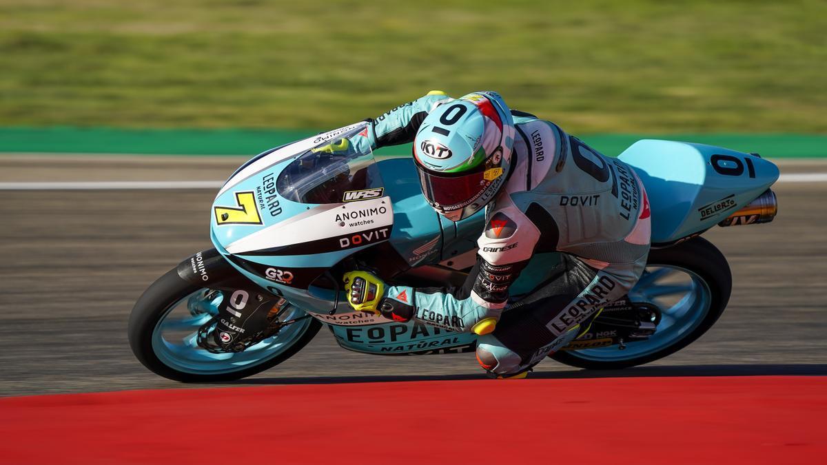 Dennis Foggia durante el GP de Aragón.