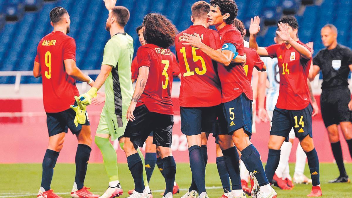 La selección española celebra un gol en la Eurocopa.