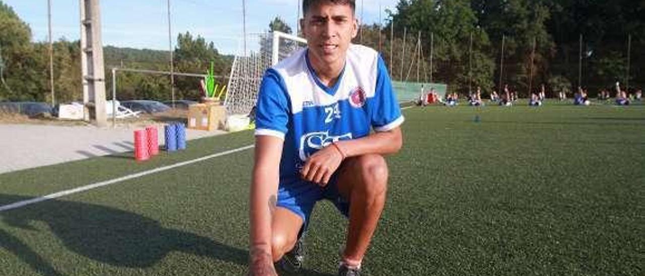 Brandon Manuel, durante un entreno con la UD Ourense. // I. Osorio