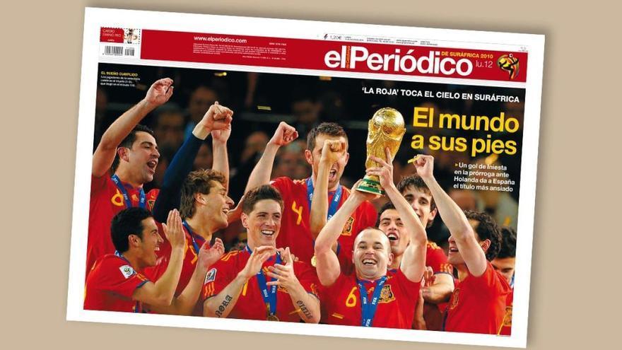 Las portadas del triunfo de España en el Mundial 2010