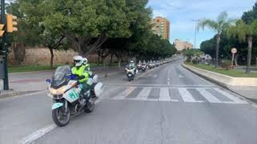 La Escuela de Tráfico de la Guardia Civil de Mérida tiñe de amarillo y verde Málaga