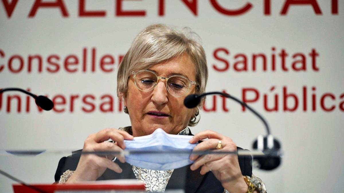 La consellera de Sanidad, Ana Barceló, en una reciente rueda de Prensa.